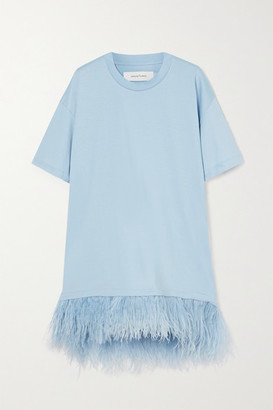 Marques Almeida Feather-trimmed Cotton-jersey Mini Dress - Blue