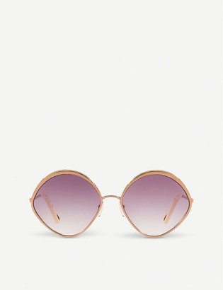 Chloé CE168S Dani rose-gold and polycarbonate diamond-frame sunglasses
