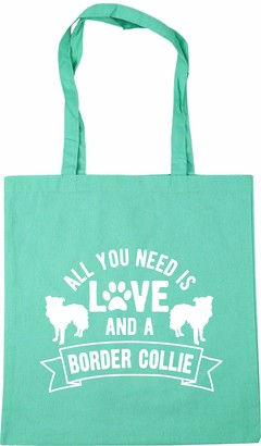 Hippowarehouse All you need is love and a Border Collie Tote Shopping Gym Beach Bag 42cm x38cm 10 litres