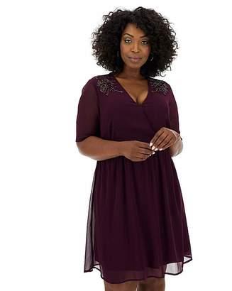 Junarose Embellished Wrap Chiffon Dress