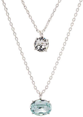 Swarovski SPARKLE ALLURE City Rocks Crystal Round And Oval Stone Womens Lab Created Multi Color Crystal Pure Silver Over Brass Double Pendant Necklace