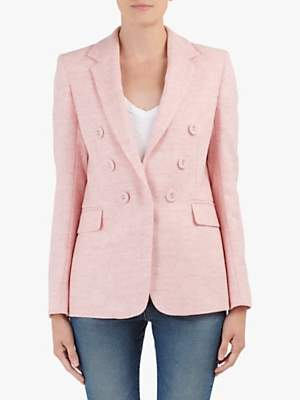Helene For Denim Wardrobe Double Breasted Wool Jacket, Pale Pink