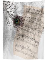 vipsung Peacock Decor Tablecloth Old Music Notes Sheet Texture with Peacock Feather Evil Eye on Antique Style Musical Theme Dining Room Kitchen Rectangular Table Cover Beige