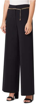 Tahari ASL Petite Wide-Leg Chain-Belt Pants