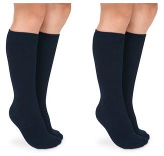 Jefferies Socks Girls Knee High Uniform Socks 2-Pack, Sizes XS-L
