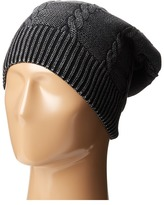Plush Fleece-Lined Faded Cable Knit Beanie
