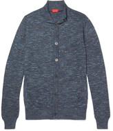 Isaia Slim-fit Mélange Cotton And Linen-blend Cardigan