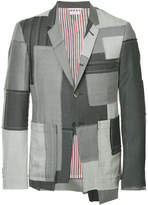 Thom Browne Classic Single Breasted Sport Coat In Patchwork Embroidered Super 120's Twill