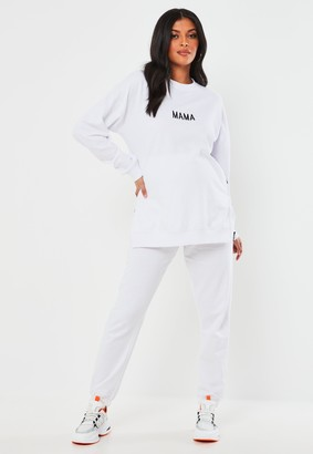 Missguided White 90S Maternity Joggers