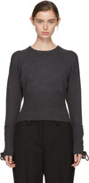 Neil Barrett Grey Cropped Lace-up Sleeve Sweater