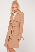 Missguided Long Sleeve Trench Coat Storm Back Tan