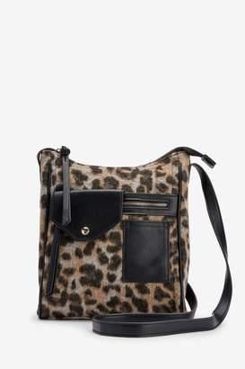 Next Womens Leopard Print Pocket Messenger Across-Body Bag - Animal