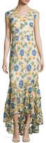Shoshanna Norwalk Cap-Sleeve Floral-Lace Gown