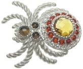 Judith Ripka Sterling Silver Gemstone & DMQ Spider Pin