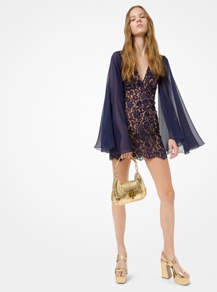 Michael Kors Floral Lace Cape-Sleeve Dress