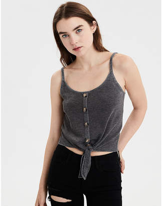 AE Tie Front Button-Down Tank Top