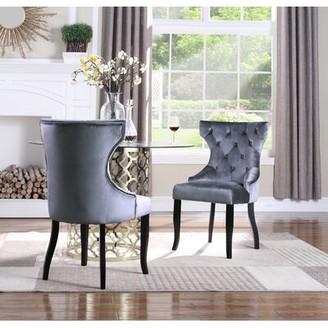 Everly Malcolm Tufted Velvet Upholstered Wingback Dining Chair Quinn Upholstery Color: Gray
