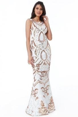 Linzi Goddiva Sequin Embroidered Maxi Dress