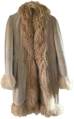 MANGO Beige Leather Coat for Women