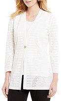 Misook Textured Pattern One-Button Jacket