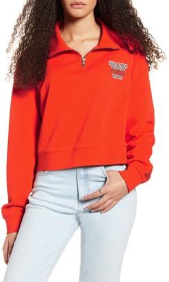 Wrangler Logo Quarter Zip Crop Sweatshirt