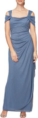 Alex Evenings Cold Shoulder Ruffle Glitter Gown