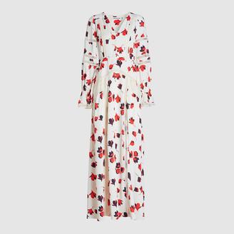 Self-Portrait Cream Floral Print Crepe de Chine Maxi Dress Size UK 12