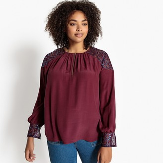 Castaluna Plus Size Guipure Lace Sleeves Zip-Front Blouse