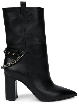Valentino Rockstud Chain Leather Ankle Boots