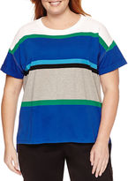 Liz Claiborne Long Sleeve Crew Stripe Pullover Neck T-Shirt-Plus