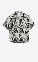 Saint Laurent Classic Shirts Shark-collar Short-sleeve Shirt In Jungle Viscose Canvas Black 15