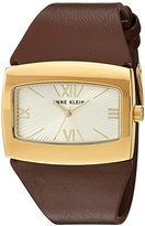 Anne Klein Women's Quartz Metal and Leather Dress Watch, Color:Brown (Model: AK/2632CHBN)