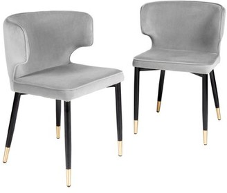 Everly Quinn Frampton Cotterell Upholstered Dining Chair Set Of 2 Upholstery Color Brown Leg Color Gold Shopstyle