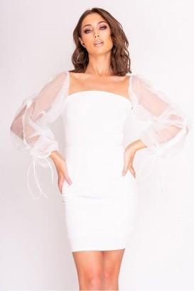 Hachu White Mesh Sleeve Lace Back Dress