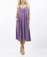 Lydiane Women's Casual Dresses LILACGREY - Lilac Gray V-Neck Sleeveless Pocket Midi Shift Dress - Women