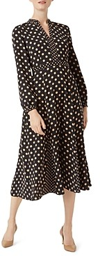 Hobbs London Andrea Polka-Dot Midi Dress