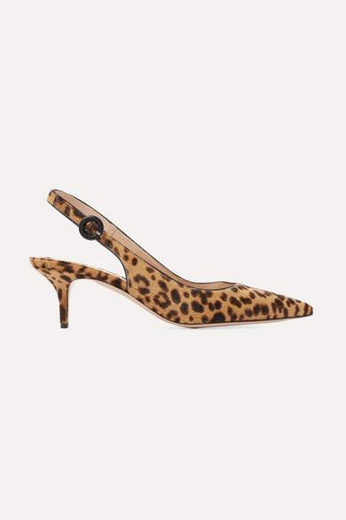 Gianvito Rossi Anna 55 Leopard-print Calf Hair Slingback Pumps - Leopard print