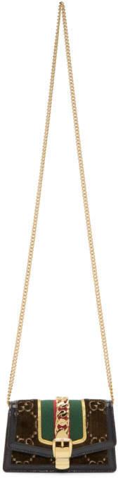 Gucci Brown Super Mini Velvet GG Sylvie Chain Bag