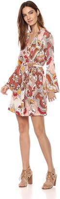 BCBGMAXAZRIA Azria Women's Paisley Long Sleeve Wrap Dress