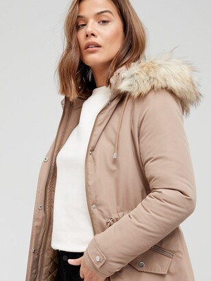 Very Ultimate Parka With Faux Fur Trim - Toffee