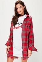 Missguided Red Checked Distressed Shirt Dress, Red
