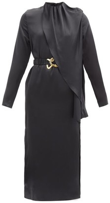 Dodo Bar Or Berna Belted Silk-satin Dress - Black