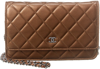 Chanel Bronze Quilted Caviar Leather Wallet On Chain