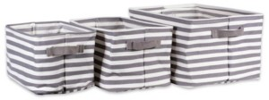Design Imports Polyethylene Coated Herringbone Woven Cotton Laundry Bin Stripe Rectangle Set of 3