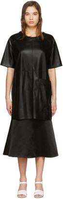 Aeron Black Faux-Leather Zelda Dress