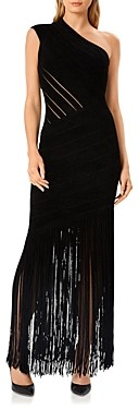 Herve Leger Velvet One Shoulder Fringe Gown