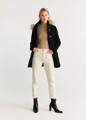 MANGO Faux fur hooded coat black - XXS - Women