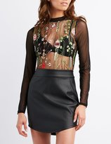 Charlotte Russe Embroidered Mesh Mock Neck Top