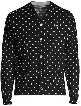 Comme des Garcons Heart Polka Dot Wool Button-Down Shirt