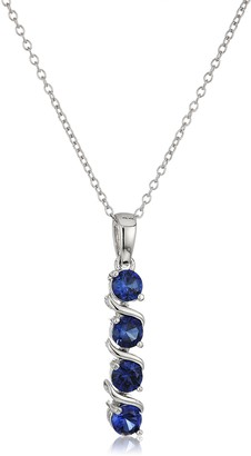 """Amazon Collection Sterling Silver Created Blue Sapphire Four Stone Pendant Necklace 18"""""""
